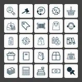 graphismes de commerce électronique réglés Collection d'étagère, présent, Tote Bag And Other Elements Inclut également des symbol Image stock