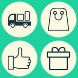 graphismes de commerce électronique réglés Collection de recommander, Tote Bag, la livraison et d'autres éléments Inclut égalemen Photo libre de droits