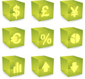 Graphismes de cube en finances Photo stock