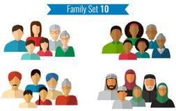 Graphismes de famille réglés Culture traditionnelle, famille nationale Vecteur Photographie stock