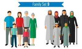 Graphismes de famille réglés Culture traditionnelle, famille nationale Vecteur Images libres de droits