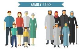 Graphismes de famille réglés Culture traditionnelle Vecteur Images libres de droits