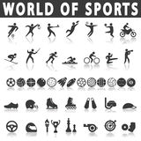 graphismes de forme physique sept sports de silhouettes Photo stock