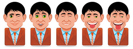 Graphismes de gens d'avatar (expression faciale : clin d'oeil, surpri illustration de vecteur