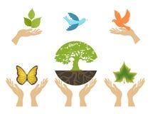 Graphismes de nature avec des mains. Positionnement de vecteur illustration libre de droits