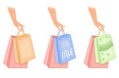 Graphismes de sacs à provisions Photographie stock