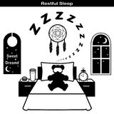 Graphismes de sommeil reposant Photos stock