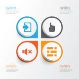 Graphismes de surface adjacente réglés Collection de curseur, d'entrée, de silence et d'autres éléments Inclut également des symb Images libres de droits