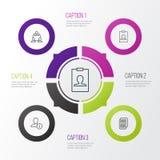 Graphismes de transmission réglés Collection de travail d'équipe, de carte d'identité, de données de profil et d'autres éléments  illustration de vecteur