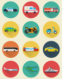 Graphismes de transport réglés Transport de Municipal et de voyage Transport en commun Style plat de conception Vecteur Image stock