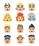 Graphismes de visage du travail de gens de dessin animé réglés Photographie stock libre de droits
