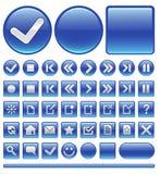 Graphismes de Web et boutons - bleu Images stock