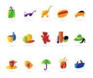 Graphismes des achats des dames colorées illustration stock