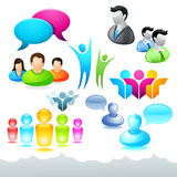 Graphismes et éléments de réseau de gens Images stock