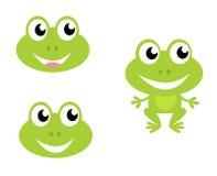 Graphismes mignons de grenouille de dessin animé d'isolement sur le blanc Photographie stock libre de droits
