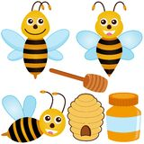 Graphismes mignons de vecteur : Abeille, miel Image stock