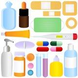 Graphismes mignons de vecteur : Les médecines, pillules, médicales équipent Image stock