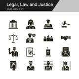 Graphismes permissibles, de loi et de justice Conception de Glyph Pour la présentation, conception graphique, application mobile, illustration libre de droits