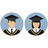 Graphismes réglés étudiant diplômé avatar illustration de vecteur