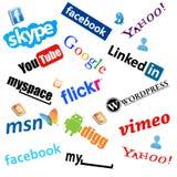 Graphismes sociaux de medias Photographie stock