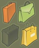 Graphismes verts avec des sacs illustration de vecteur