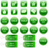 Graphismes verts d'achats illustration de vecteur
