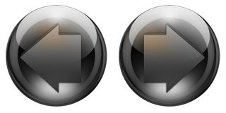 Graphite arrow buttons. Back and forward arrow buttons with reflections and refractions. Graphite look Stock Photo