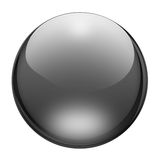 Graphite blank button. Blank sphere button with reflections and refractions. Graphite look Royalty Free Stock Photography