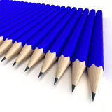 Graphite Blue pencils. 3D rendering of a battery of blue pencils on a white background Royalty Free Stock Image