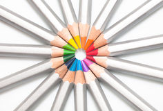 Graphite colored pencils lined circle Stock Images
