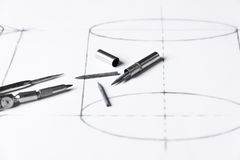 Graphite for compasses - technical drawing. Royalty Free Stock Image