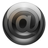 Graphite email button. Email/contact button with reflections and refractions. Graphite look Stock Photos