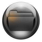 Graphite folder button. Open file/folder button with reflections and refractions. Graphite look vector illustration