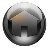 Graphite home button. Home button with reflections and refractions. Graphite look Royalty Free Stock Image