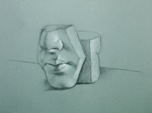 Graphite illustration of ceramic face mould Stock Photos