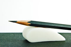 Graphite pencil on rubber eraser Stock Photography