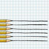 Graphite pencils making lines illustration. Graphite pencils drawing lines over chequered notebook page. Stationery set hand drawn vector doodle illustration vector illustration