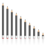 Graphite Pencils Reduction Different Sizes Stock Images