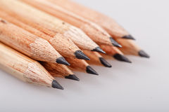 Graphite pencils. Graphite wooden pencils for sketching shot closeup background royalty free stock photo