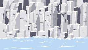 Graphite rocks on seashore. Landscape view, graphite rocks on seashore vector illustration