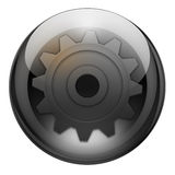 Graphite settings button. Settings/options button with reflections and refractions. Graphite look Stock Photo