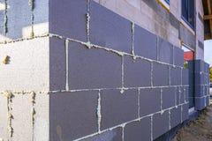 Graphite styrofoam insolation on the new house. Under construction Stock Photo
