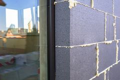 Graphite styrofoam insolation on the new house. Under construction Royalty Free Stock Photography