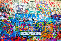 Graphiti. The John Lennon wall in Prague covered with graphiti Stock Photography