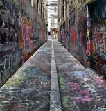 Graphiti street. Perspective street in Melbourneart Royalty Free Stock Photography