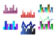 Graphs. The picture of different graph with color columns stock illustration