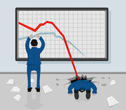 Graphs. Two men and decreasing graphs on a whiteboard, illustration Stock Photos