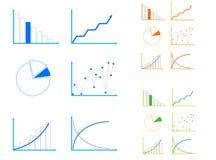 Graphs. Illustration of graphs, blue, orange, green Royalty Free Stock Image