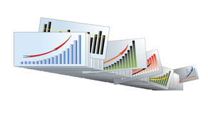 Graphs with the arrows in the archives Royalty Free Stock Images