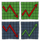 Graphs with arrows illustration. 2 graphs shows arrows that indicate growth and 2 graphs indicated descent Stock Image